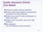 quality assurance school core beliefs