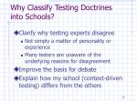 why classify testing doctrines into schools
