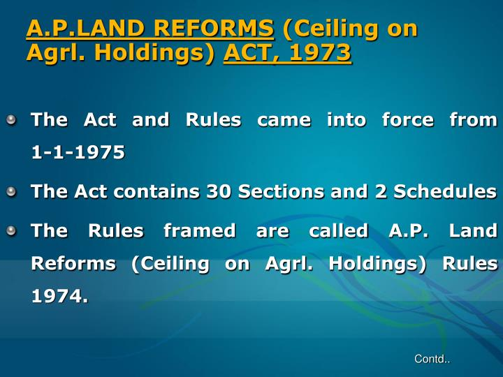 A p land reforms ceiling on agrl holdings act 1973
