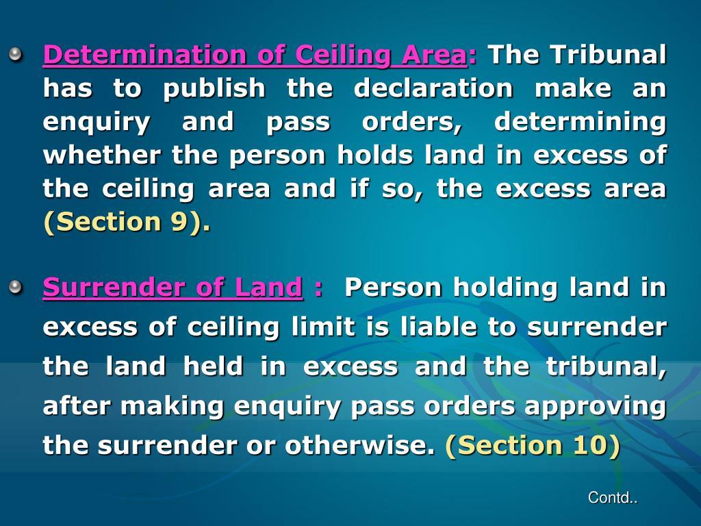 Determination of Ceiling Area