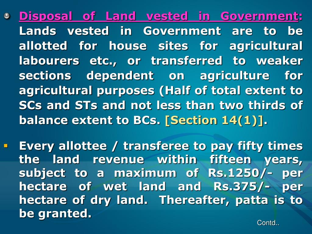 Disposal of Land vested in Government