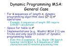 dynamic programming msa general case