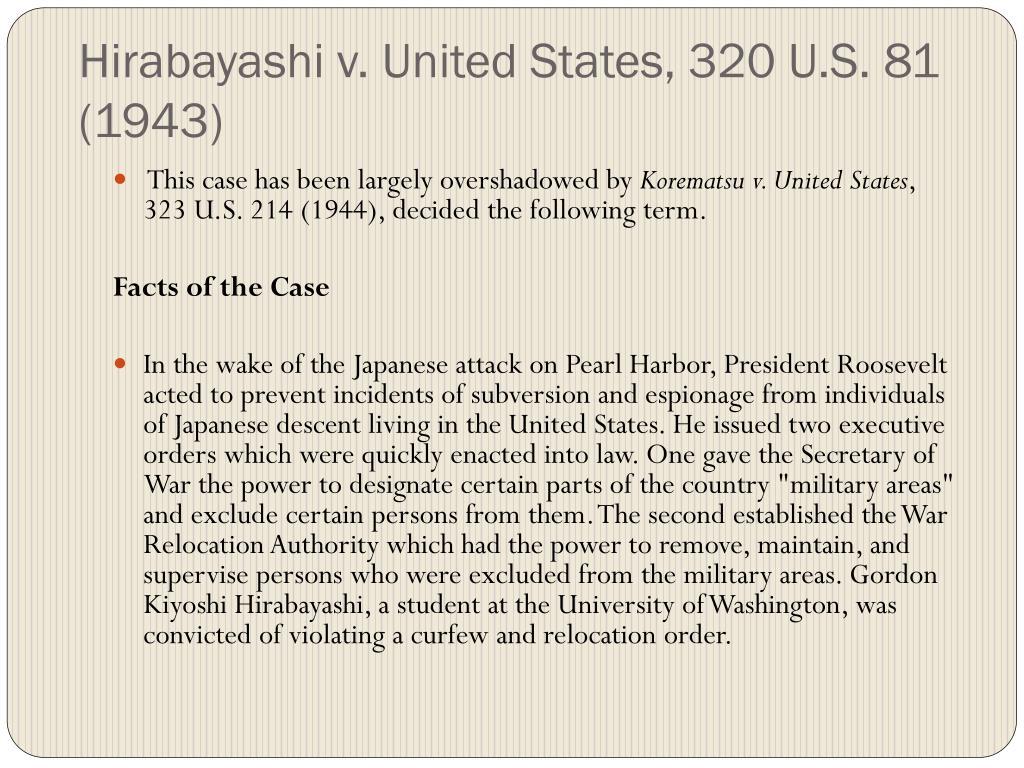 Hirabayashi v. United States, 320 U.S. 81 (1943)