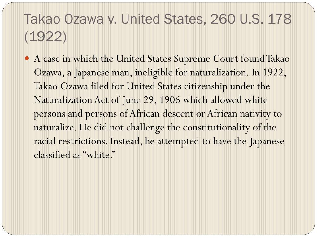 Takao Ozawa v. United States, 260 U.S. 178 (1922)
