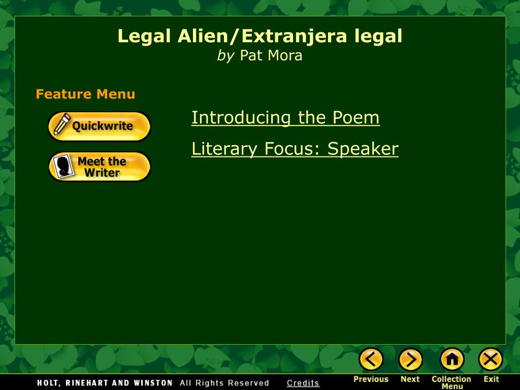 legal alien extranjera legal by pat mora l.
