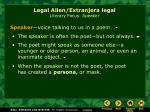 legal alien extranjera legal literary focus speaker