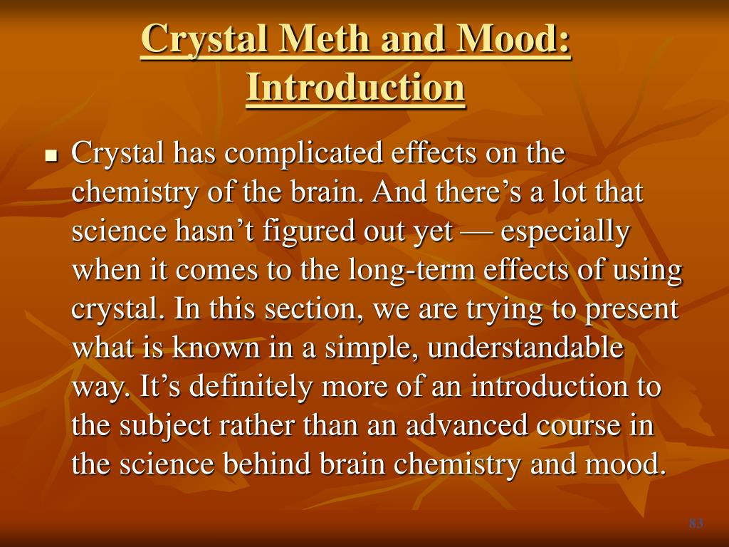 Crystal Meth and Mood: Introduction