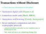 transactions without disclosure