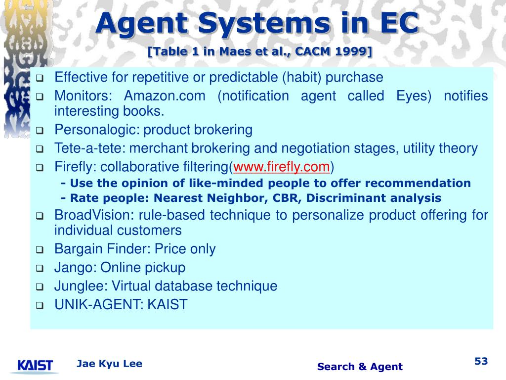 Agent Systems in EC