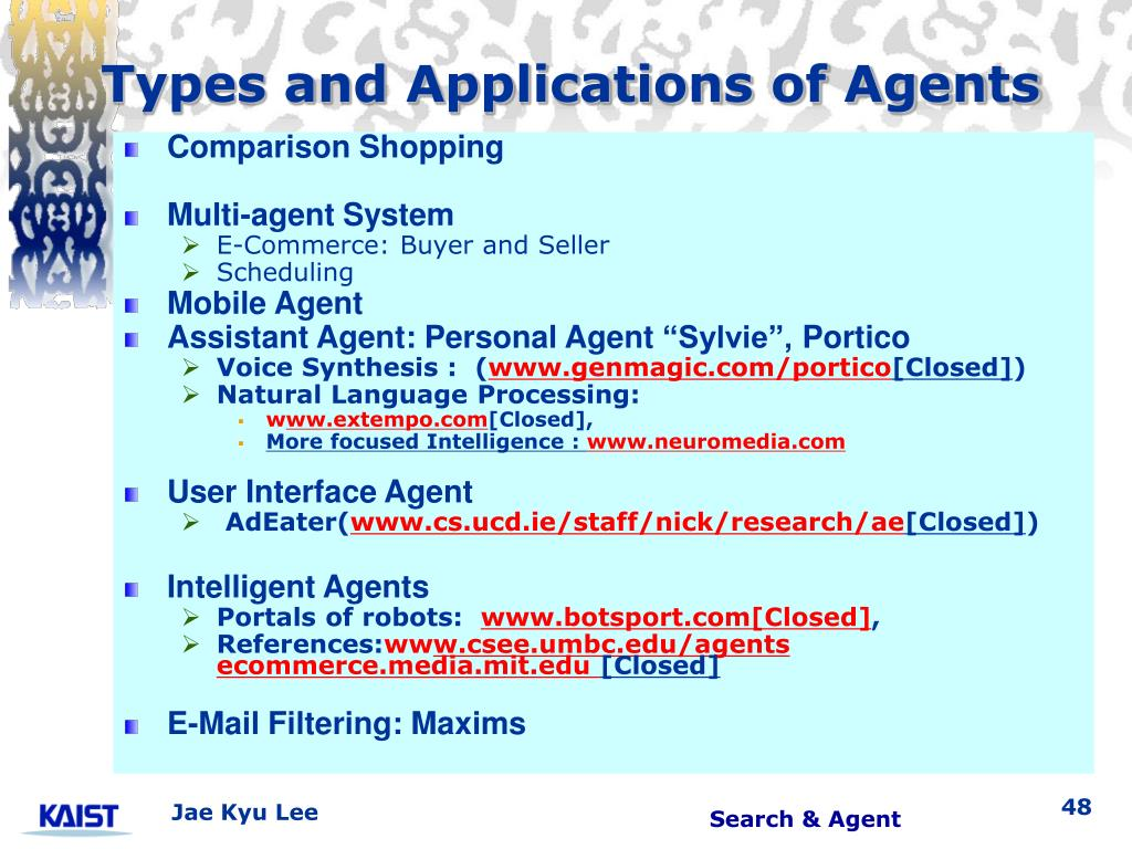 Types and Applications of Agents