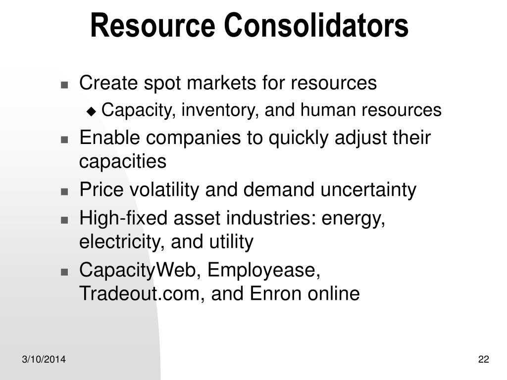 Resource Consolidators