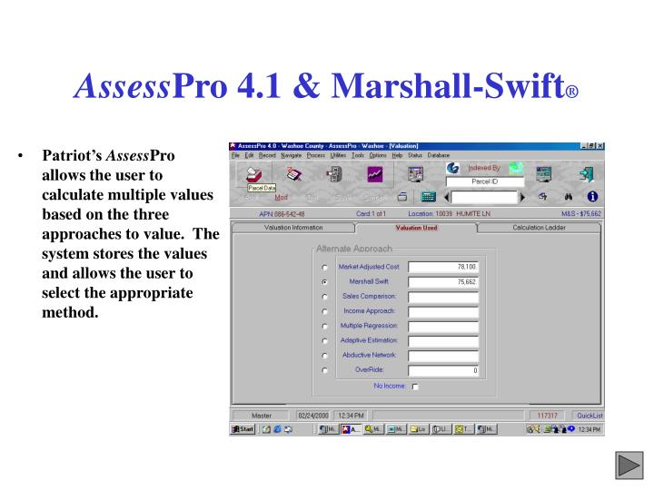 Assess pro 4 1 marshall swift