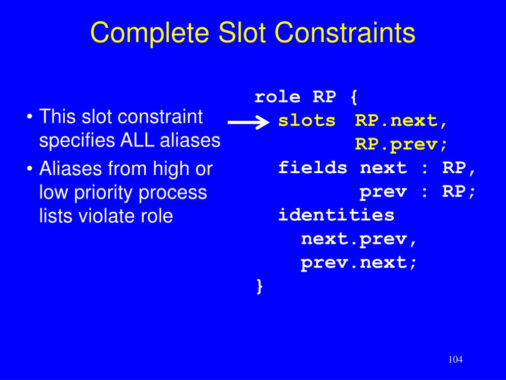 Complete Slot Constraints