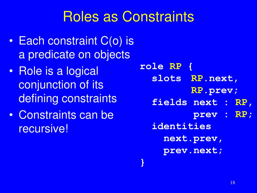 Roles as Constraints