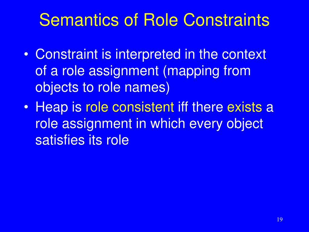 Semantics of Role Constraints