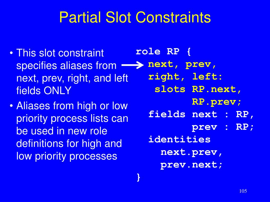 Partial Slot Constraints