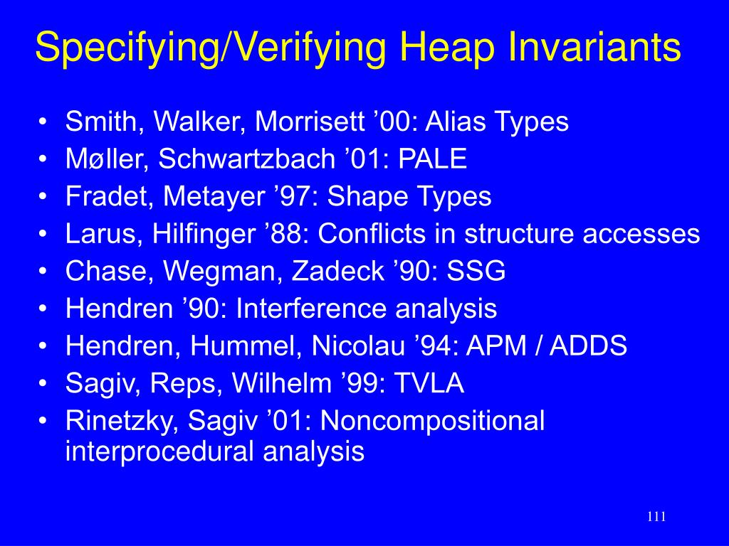 Specifying/Verifying Heap Invariants