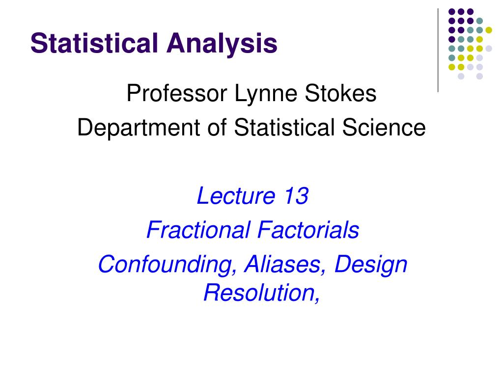 statistical analysis l.