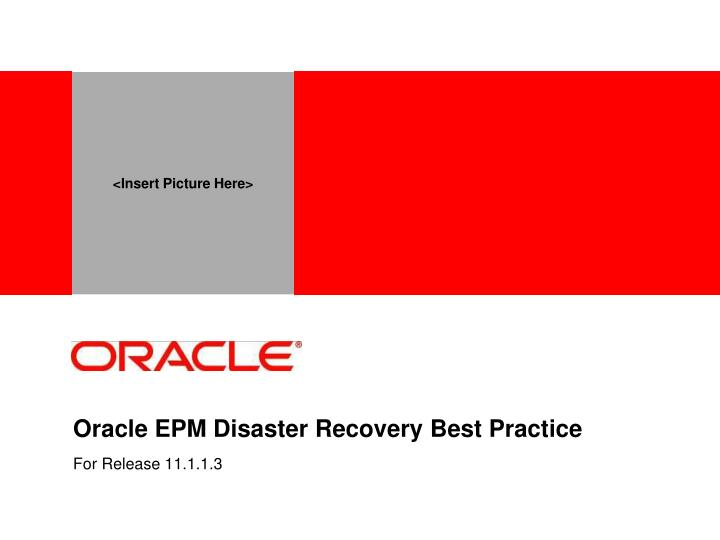 oracle epm disaster recovery best practice n.