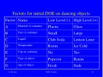 factors for initial doe on dancing objects