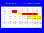guide to choice of fractional factorial designs