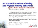 an economic analysis of eating and physical activity behaviors