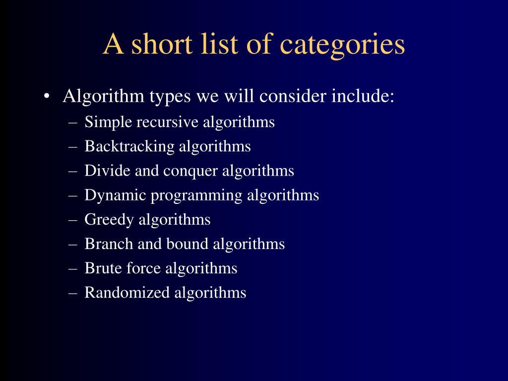 A short list of categories