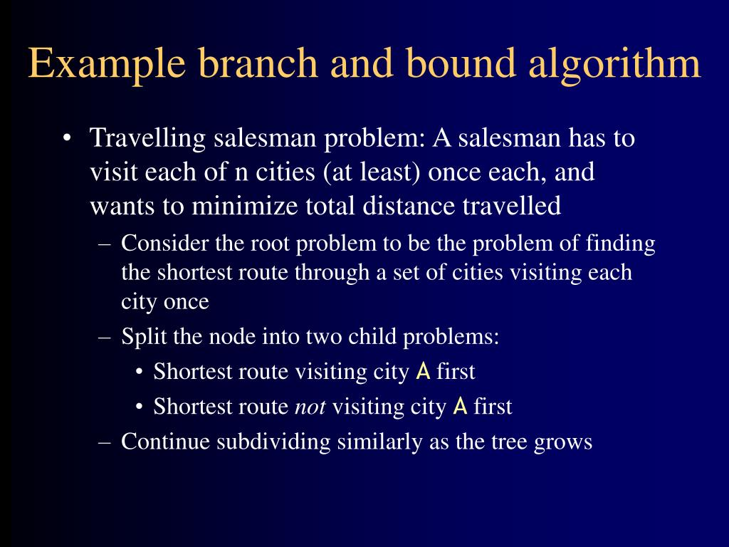 Example branch and bound algorithm