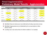 retail agglomeration preliminary model results agglomeration