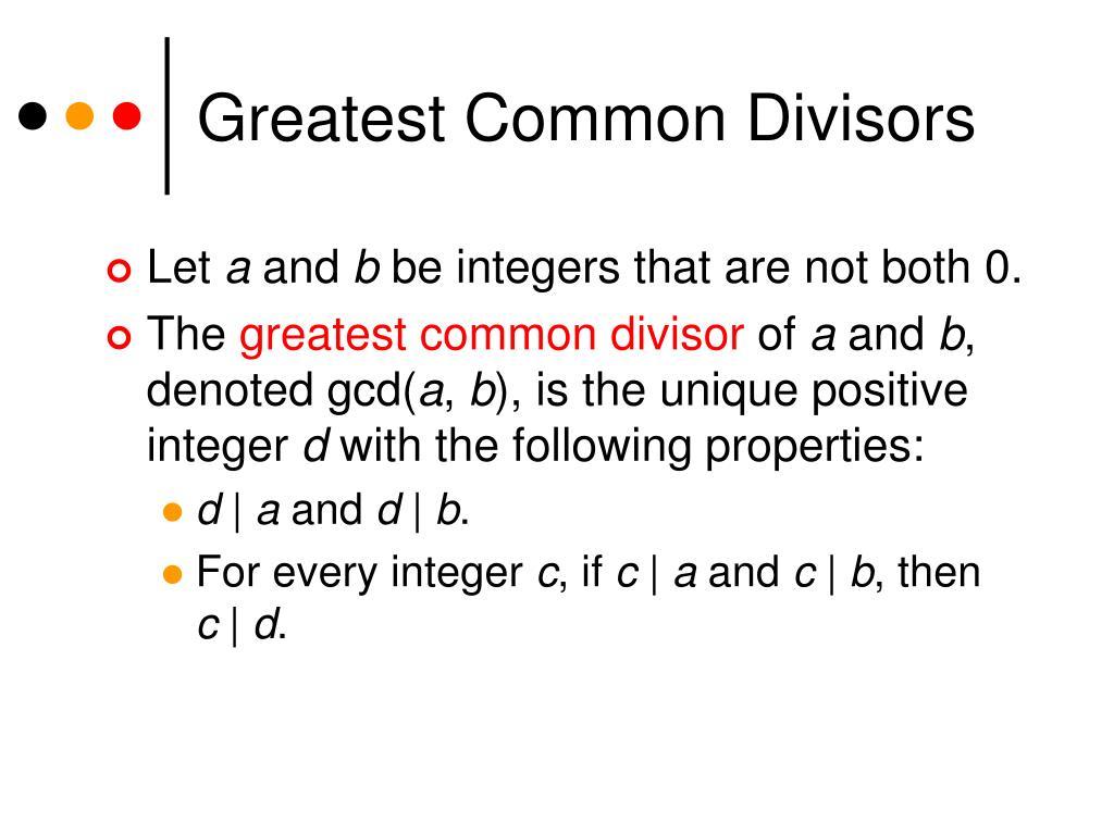 Greatest Common Divisors