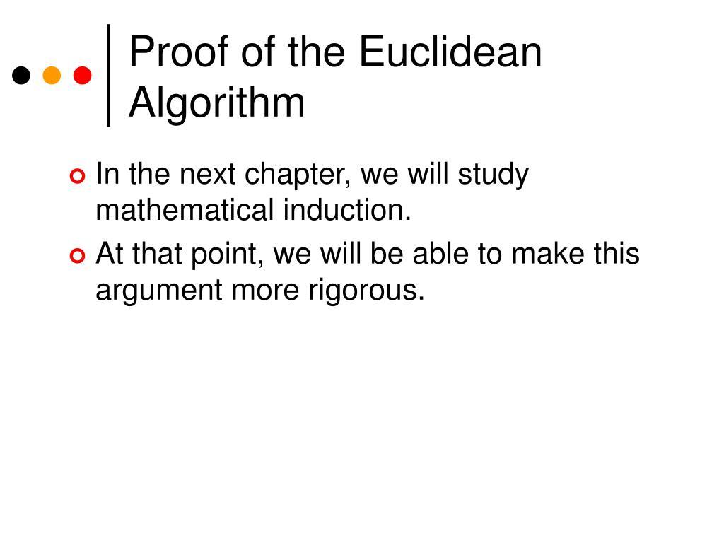 Proof of the Euclidean Algorithm