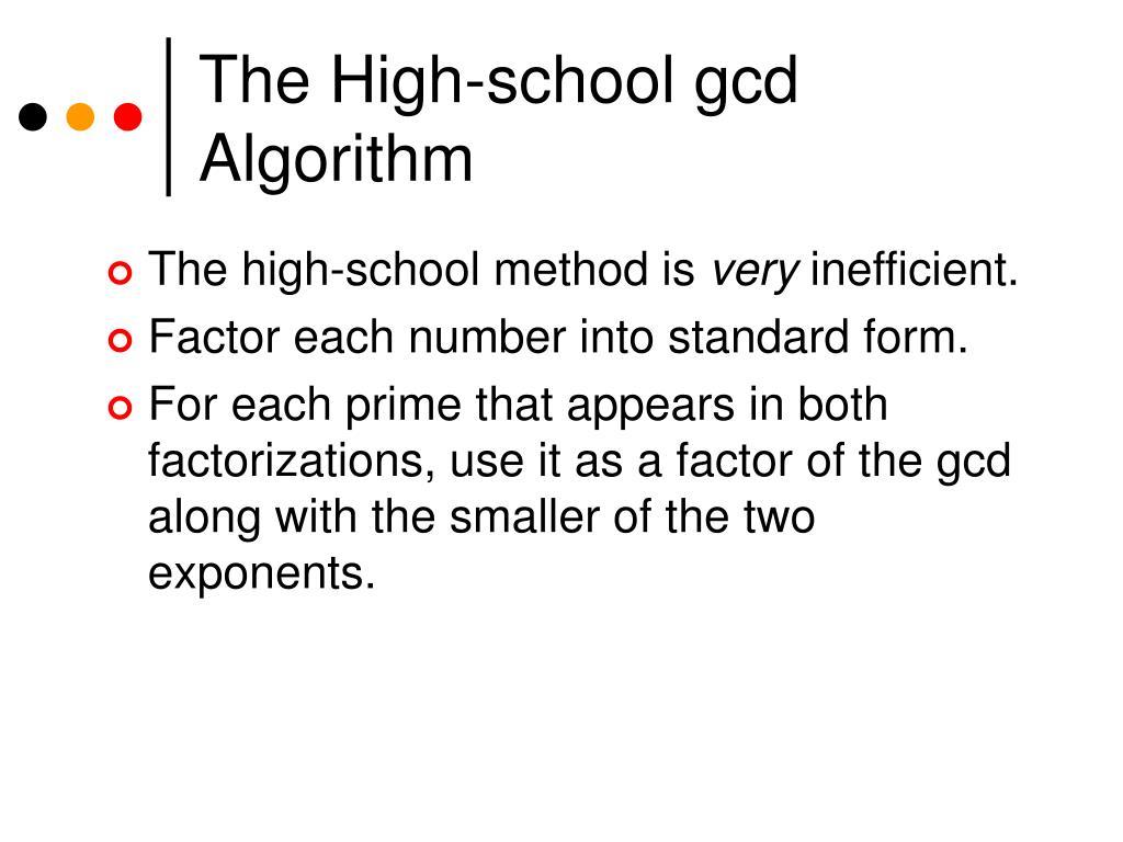 The High-school gcd Algorithm