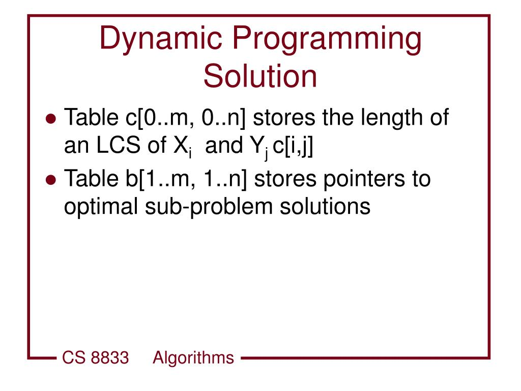 Dynamic Programming Solution