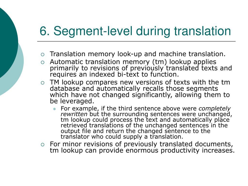 6. Segment-level during translation