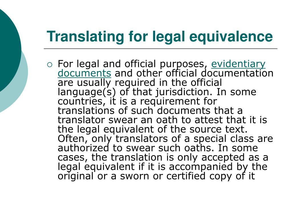 Translating for legal equivalence