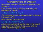 representations of integers27