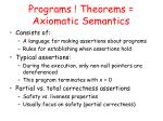 programs theorems axiomatic semantics