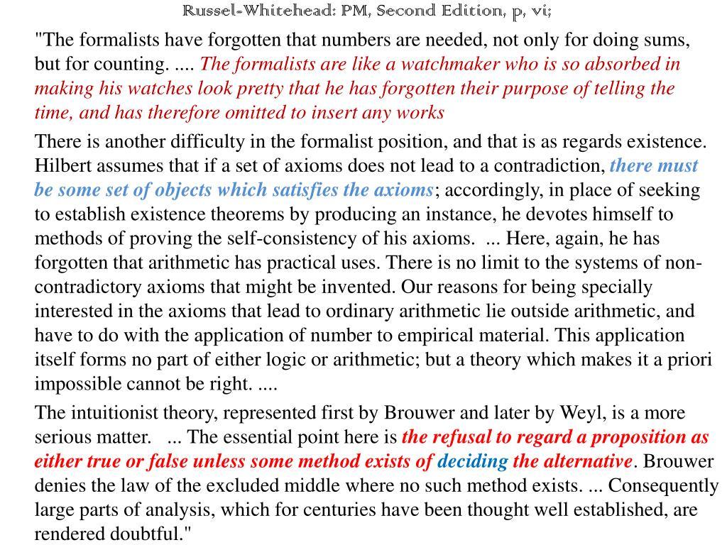 Russel-Whitehead: PM, Second Edition, p, vi;