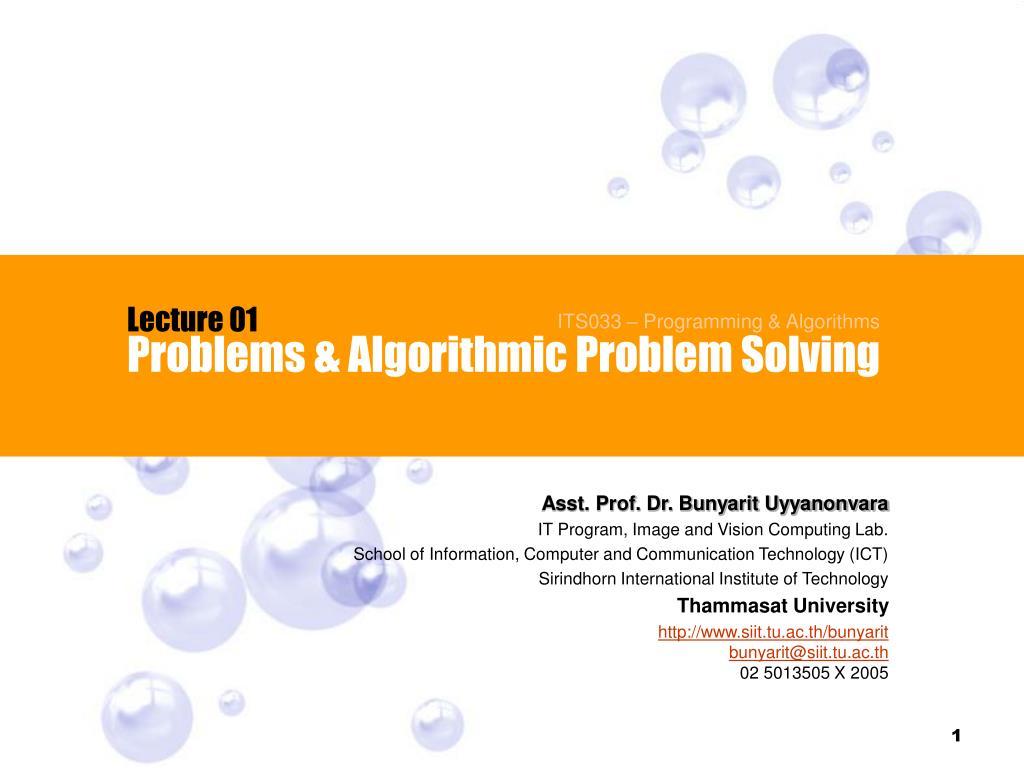 problems algorithmic problem solving l.