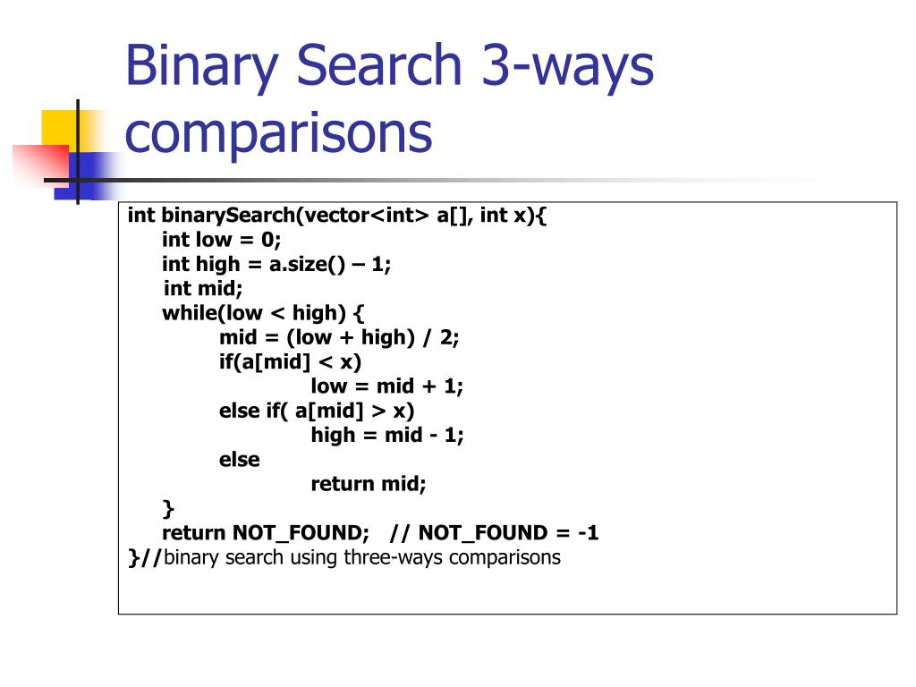 Binary Search 3-ways comparisons