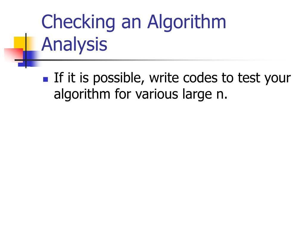 Checking an Algorithm Analysis