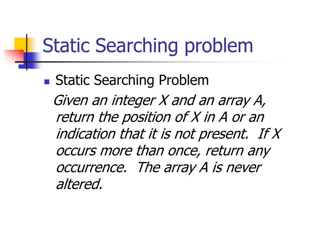 Static Searching problem