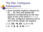 the max contiguous subsequence