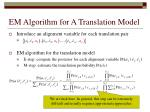 em algorithm for a translation model38
