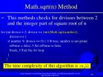 math sqrt n method