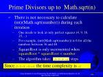 prime divisors up to math sqrt n103