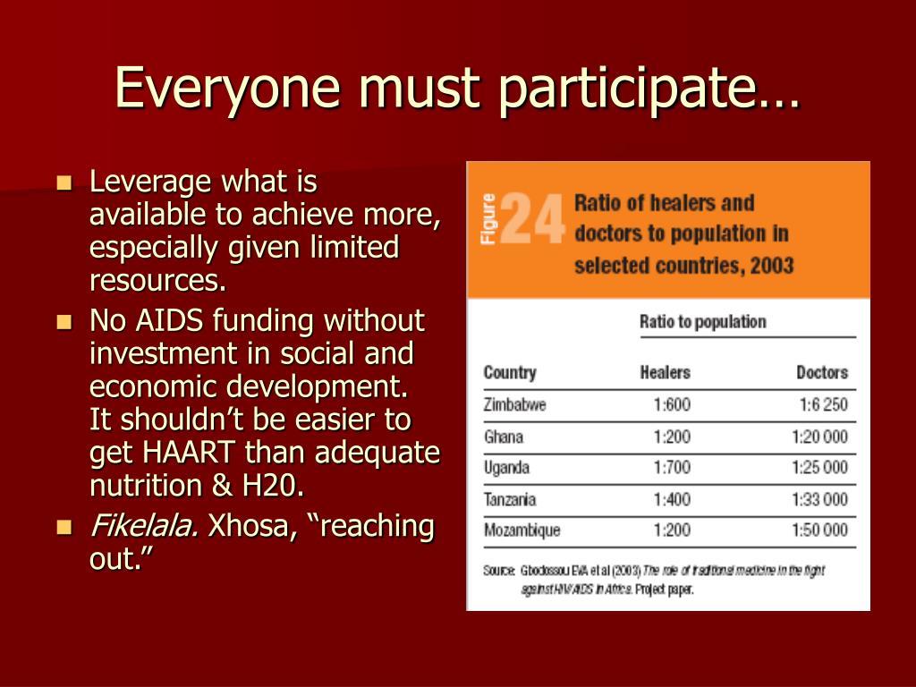 Everyone must participate…