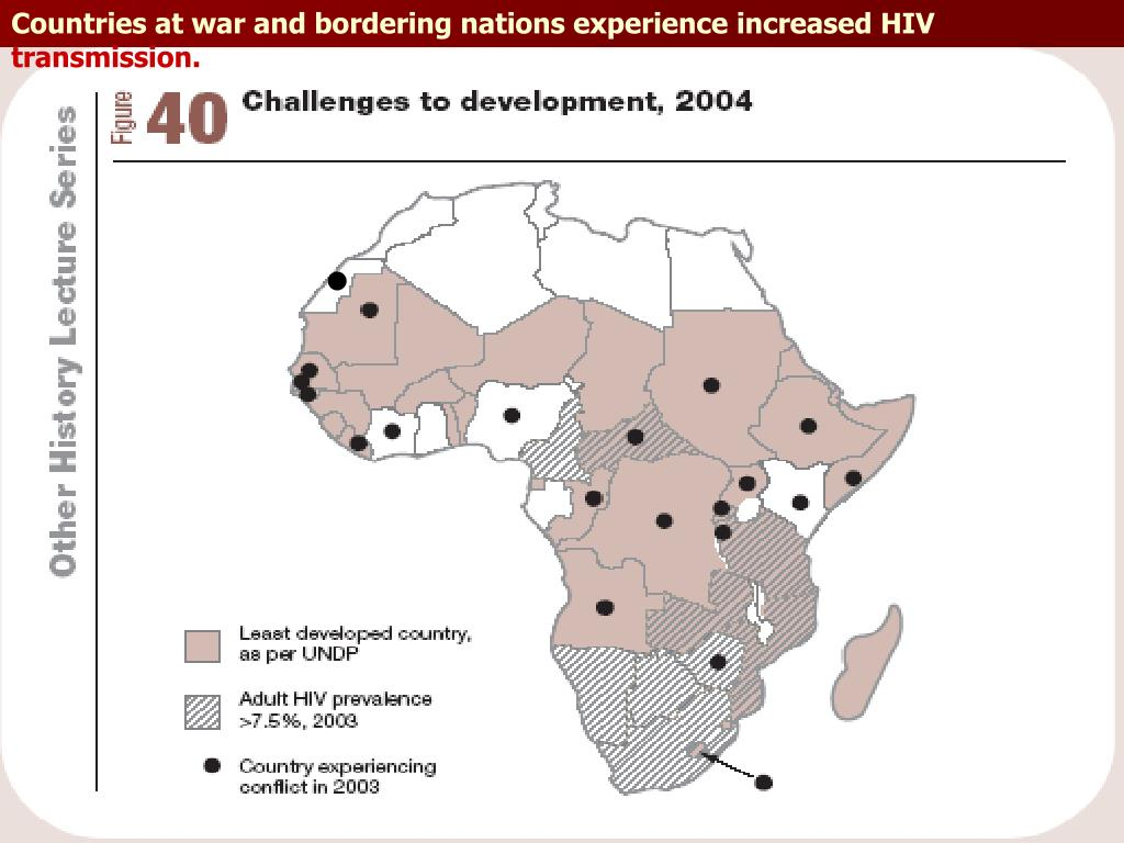Countries at war and bordering nations experience increased HIV