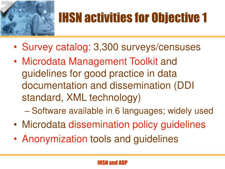 IHSN activities for Objective 1