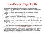lab safety page xxiii